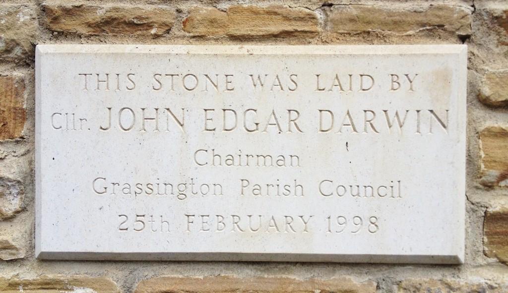 The stone laid by John Edgar Darwin